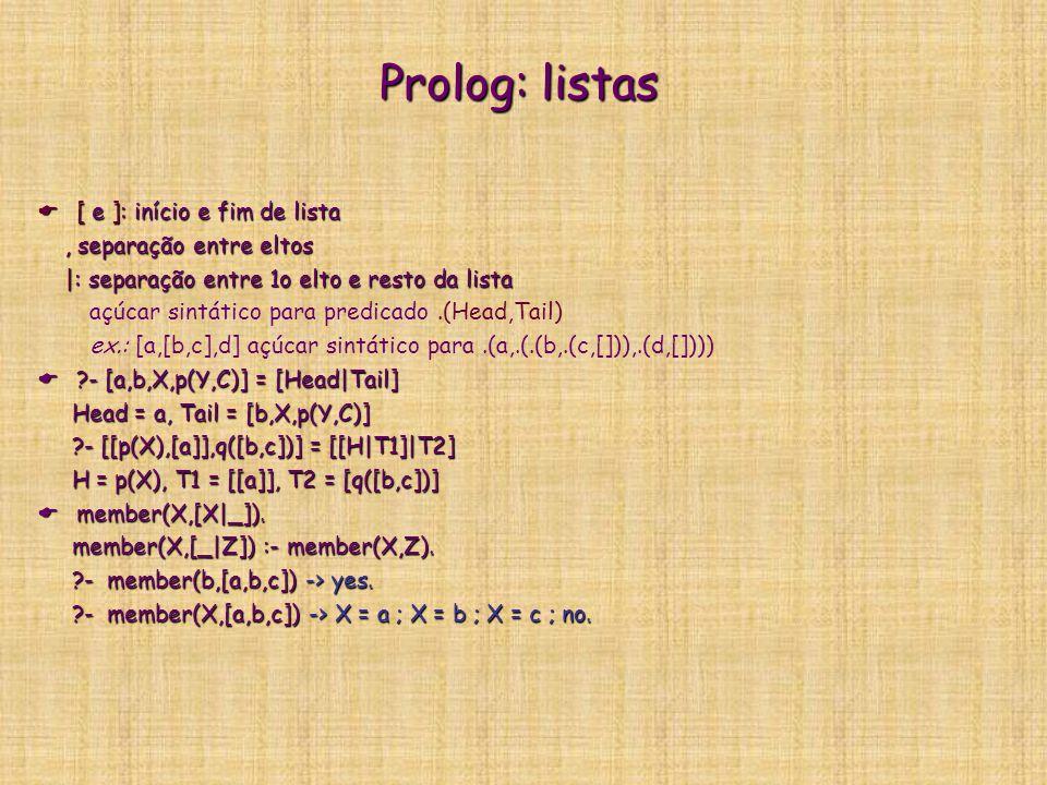Prolog: listas [ e ]: início e fim de lista , separação entre eltos